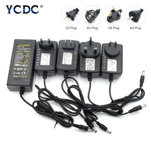 Plug AC/DC 5V 12V 24V 1/2/3/4/5/8A Power Supply Cord Adapter Transformer Charger