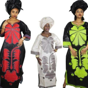 African Clothing For Women Embroidery Bazin Long Dress Design with Scarf X21246