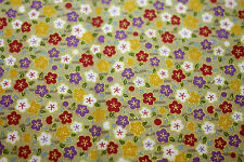 Fabric Japanese Oriental Small Flowers Gold Cotton Fat Quarter Quilting Material