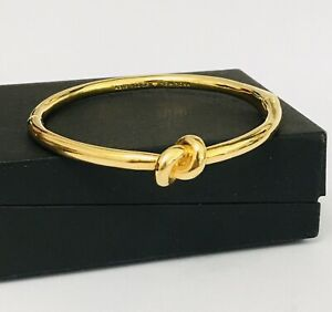 Kate Spade New York Gold Tone Hinged Sailor's Knot Bracelet Nautical Signed
