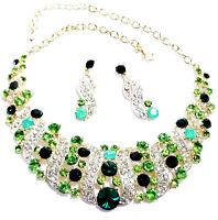 Green Rhinestone Austrian Crystal Choker Necklace Earrings Pageant Prom Bridal