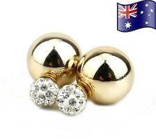Gold & Silver Stylish Double Sided Crystal Pearl Stud Ball Earrings Jewellery