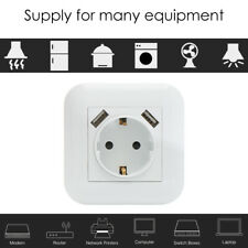 Dual USB Port White Switch Power Outlet Plug Panel EU Socket Wall Charger