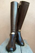 MICHAEL KORS Womens Boots Knee High Fashion Dark Brown Leather Riding Size 7.5M