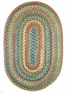 Country Jewel Textured Nylon Variegated Cottage Braided Area Rug Peridot CJ65