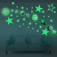 Glow In The Dark 3D Wall Sticker Space Planets Star Moon Kids Baby Bedroom Decor