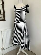 COAST HARPER STRIPE MONO DRESS 14 Asymmetrical Shoulder Black White Hepburn