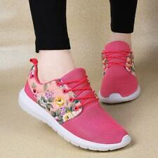 US7 Rose Red Women Lace Up Sneakers Shoes Mesh Printed Breathable Outdoor Zha19