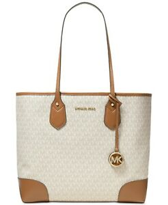 New Michael Kors Signature Eva XL Tote Bag Faux Leather Vanilla/Gold