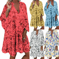 Plus Size Women Boho Floral Loose Tunic Dress Ladies Summer Beach Kaftan Dresses