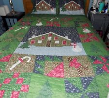 Holiday Gingerbread-themed Green Full/Queen Quilted Bedspread and 2 pillow shams