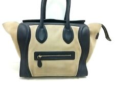 Auth CELINE Luggage Mini Shopper Beige DarkNavy Suede & Leather Tote Bag