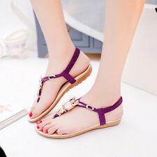 Lady Womens Summer Beach Sandals Boho T-Strap Thong Slipper Flip Flop Flat Shoes