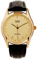 Casio MTP-1094Q-9A Analog Men's Watch Leather Band Brown - Gold Face Quartz New