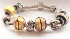 Murano Glass Commitment Vintage Solid Silver BACIO Charm Bracelet 925 I Love You