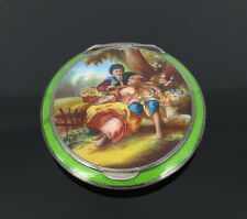 Antique Austrian Painted & Guilloche Enamel Scenery Sterling Silver Powder Case