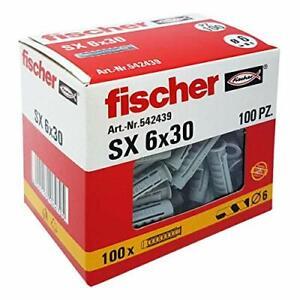 Fischer - 100 Tasselli In Nylon da 6 x 30 mm per Muro Pieno o Mattone Forato