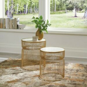 Alison End Table, Gold, White Marble Top, Set of Two Gold Nesting Table