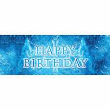 "20"" Ice Palace Frozen Happy Birthday Plastic PVC Event Sign Banner Decoration"