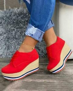 Women Sneakers Solid Color Round Toe Wedge Platform Shoes Big size