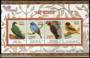India 2016 MNH SS, Birds Nicobar Pigeon, Flycatcher, Andaman Woodpecker