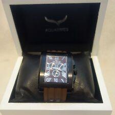 AQUASWISS Men's WATCH Chronograph brown bend black Case  NEW $1600