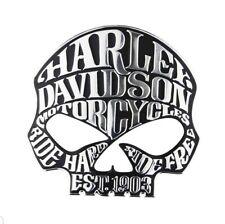 harley davidson motorcycle fuel tank sissy bar chrome skull badge emblem logo