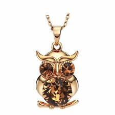 Rose Gold Plated Sparkling Brown Austria Crystal Owl Necklace Pendant Jewelry