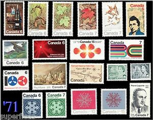 SUPERFLEAS Canada 1971 Complete Standard Issue Year Set / Fresh MNH Stamps