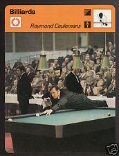 RAYMOND CEULEMANS Belgian Billiards Player Pool 1977 SPORTSCASTER CARD 16-21