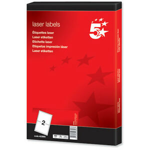 A4 White Address Labels 2 Per Sheet Self Adhesive Laser Inkjet Printer Copier