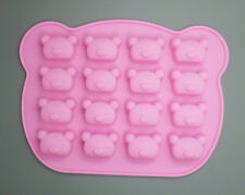 16 Holes Pink Cartoon Bear Head DIY Chocolate Jelly Pudding Soap Silicone Mould