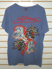 ED HARDY by CRISTIAN AUDGIER DESIGNER PURPLE T-SHIRT   ADULT LARGE FREE SHIPPING