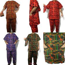 Men's African Clothing Traditional Kente Pant Suit Dashiki Ethnic Set Free Size