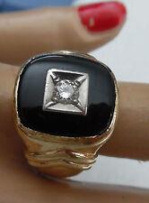 DECO RING W, BLACK ONYX & DIAMOND CENTER  SIZE  9  CLEAN DIAMOND