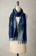 NWT Anthropologie Scarf Denim Blue Handmade One Of A Kind Patch Fringe 66 x 9.5