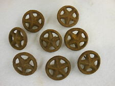 cast Iron Wheels with Star inside & Nail on Back - rustic Appliqué - Lot of 8