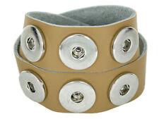 Doppeltes Chunk Leder Armband hell beige 6 Druckknöpfe Click Button Kette Ring
