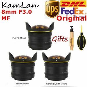 DHL KamLan 8mm F3.0 APS-C MF Wide Angle Fisheye Lens For Canon Sony Fuji Cameras