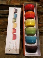 *NIB* Set of 6 LE CREUSET Rainbow Mini Ramekins Stoneware 3.4 oz 100ML