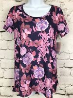 NWT LuLaRoe LLR Unicorn XS Classic T: Purple With Peonies Floral Butterflies