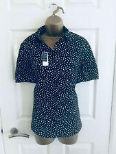 M&S Black & White Spotted Office Short Sleeve Women's Blouse Cotton Shirt Sz 16