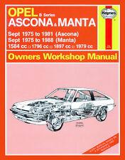 0316 Haynes Opel Ascona et Manta (Série B) (Sept. 1975 - 1988) workshop manual
