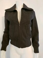 Women's Express Wool Jacket SZ XS Charcoal Zip UP Bomber