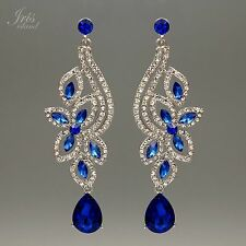 Rhodium Plated Blue Crystal Rhinestone Wedding Drop Dangle Earrings 00039 Flower