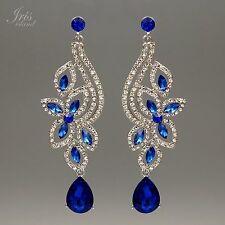 Rhodium Plated Blue Crystal Rhinestone Wedding Drop Dangle Earrings 00039 Flower