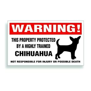 Warning DECAL trained CHIHUAHUA Mexico puppy dog bumper or window sticker