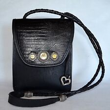 Brighton Handbag Black Leather Croc Medallion Crossbody Shoulder Bag Purse Heart
