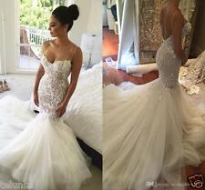 Gorgeous White Lace Mermaid Wedding Dress Bridal Gown Custom Size 2 4 6 8 10++