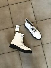 Zara White Leather Military Style Track Sole Ankle Boots UK7 EU40 US9 # 678